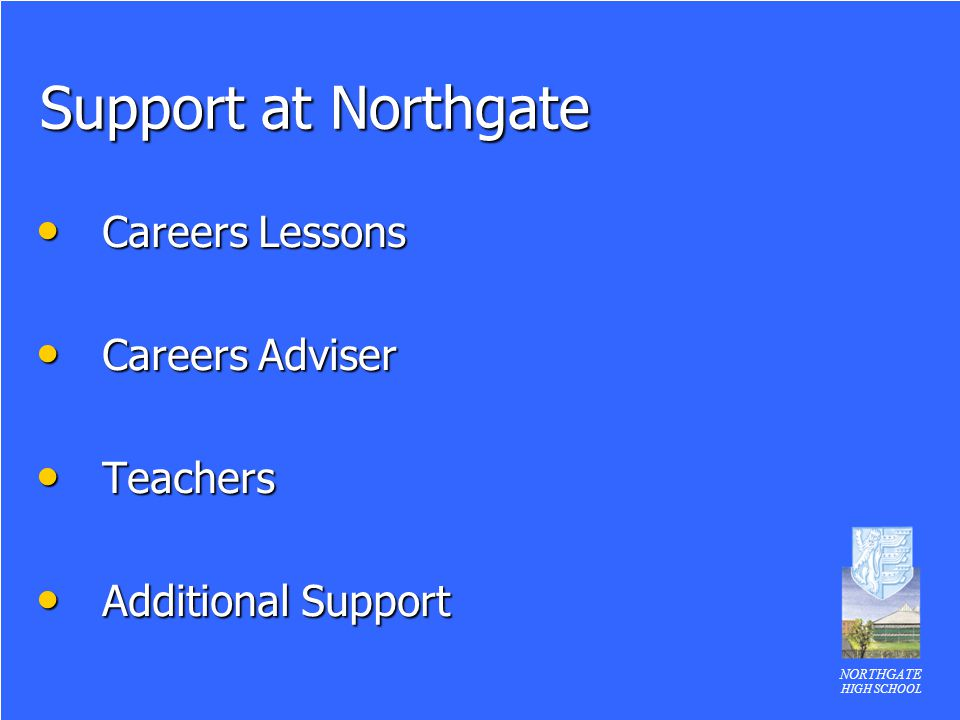 NORTHGATE HIGH SCHOOL Support at Northgate Careers Lessons Careers Lessons Careers Adviser Careers Adviser Teachers Teachers Additional Support Additional Support
