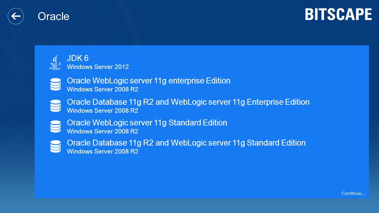Oracle JDK 6 Windows Server 2012 Oracle WebLogic server 11g enterprise Edition Windows Server 2008 R2 Oracle Database 11g R2 and WebLogic server 11g E