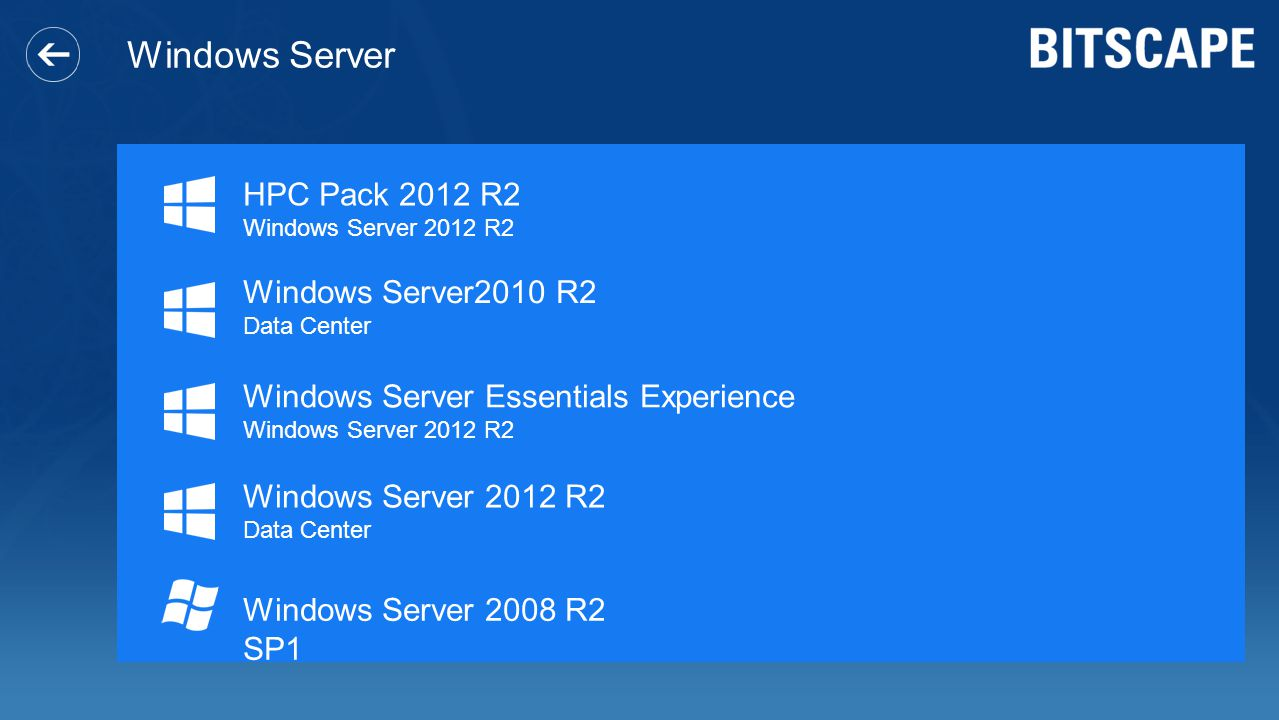 Windows Server Windows Server2010 R2 Data Center Windows Server Essentials Experience Windows Server 2012 R2 Data Center HPC Pack 2012 R2 Windows Server 2012 R2 Windows Server 2008 R2 SP1