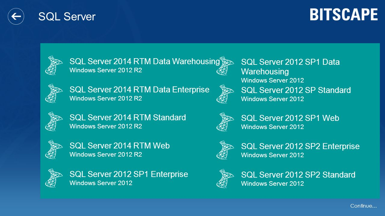 SQL Server SQL Server 2014 RTM Data Warehousing Windows Server 2012 R2 SQL Server 2014 RTM Data Enterprise Windows Server 2012 R2 SQL Server 2014 RTM Standard Windows Server 2012 R2 SQL Server 2014 RTM Web Windows Server 2012 R2 SQL Server 2012 SP1 Enterprise Windows Server 2012 SQL Server 2012 SP1 Data Warehousing Windows Server 2012 SQL Server 2012 SP Standard Windows Server 2012 SQL Server 2012 SP1 Web Windows Server 2012 SQL Server 2012 SP2 Enterprise Windows Server 2012 SQL Server 2012 SP2 Standard Windows Server 2012 Continue…