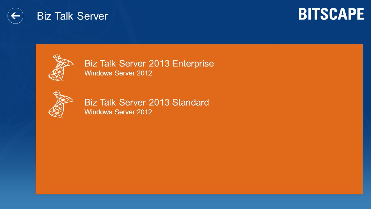 Biz Talk Server Biz Talk Server 2013 Enterprise Windows Server 2012 Biz Talk Server 2013 Standard Windows Server 2012