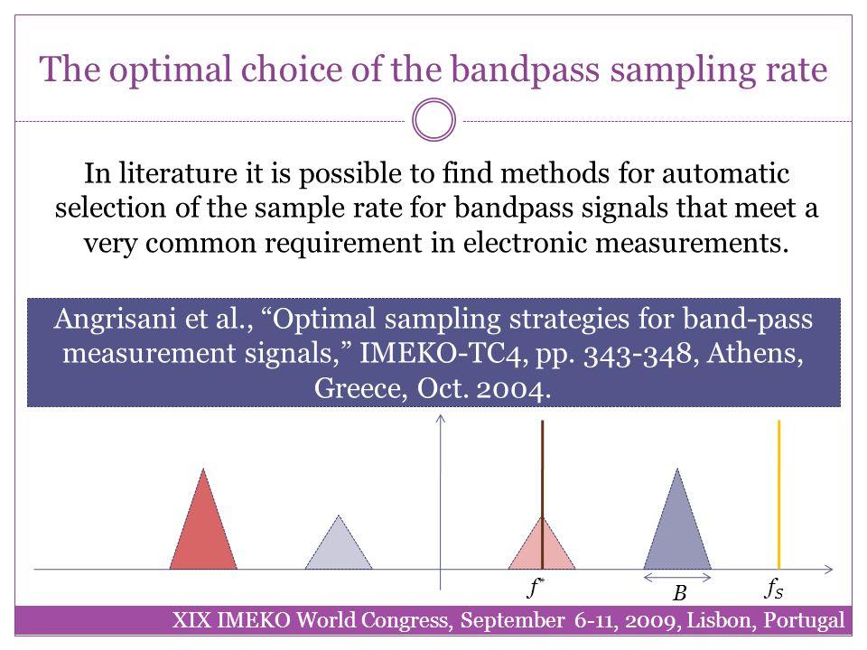 The optimal choice of the bandpass sampling rate XIX IMEKO World Congress, September 6-11, 2009, Lisbon, Portugal In literature it is possible to find methods for automatic selection of the sample rate for bandpass signals that meet a very common requirement in electronic measurements.