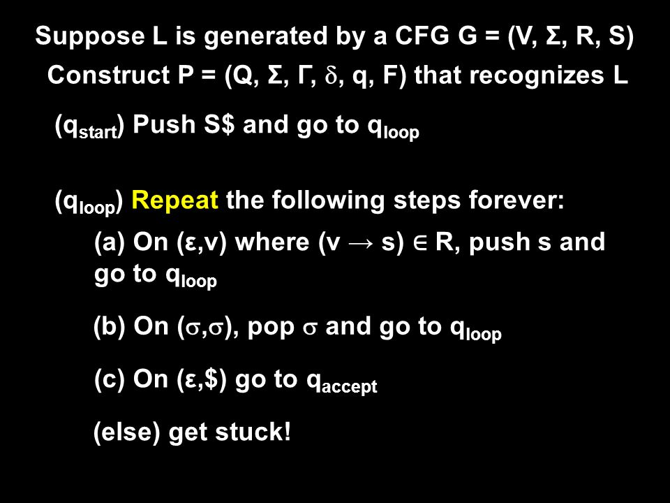 Suppose L is generated by a CFG G = (V, Σ, R, S) Construct P = (Q, Σ, Γ, , q, F) that recognizes L (q start ) Push S$ and go to q loop (q loop ) Repeat the following steps forever: (a) On (ε,v) where (v → s) ∈ R, push s and go to q loop (b) On ( ,  ), pop  and go to q loop (c) On (ε,$) go to q accept (else) get stuck!