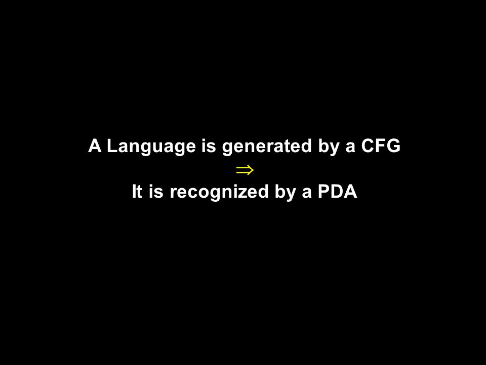A Language is generated by a CFG  It is recognized by a PDA 