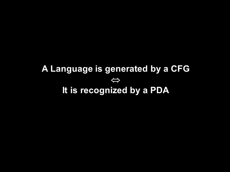 A Language is generated by a CFG  It is recognized by a PDA