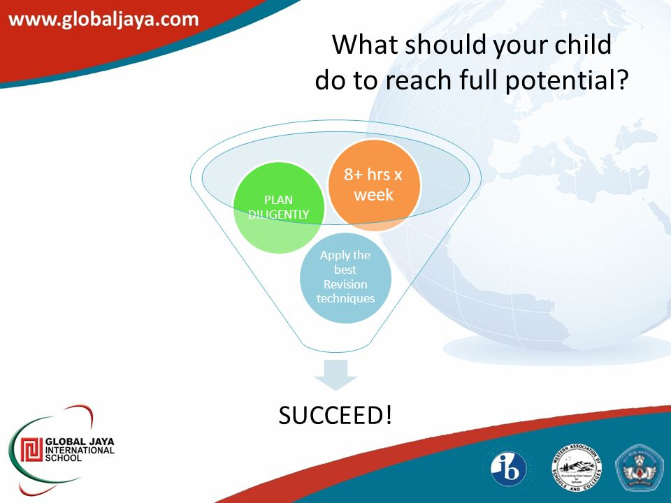SUCCEED! Apply the best Revision techniques PLAN DILIGENTLY 8+ hrs x week What should your child do to reach full potential?