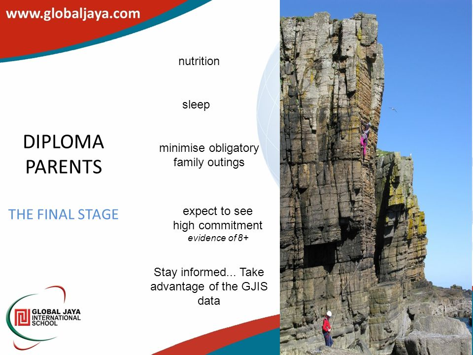 DIPLOMA PARENTS THE FINAL STAGE nutrition sleep minimise obligatory family outings expect to see high commitment evidence of 8+ Stay informed...