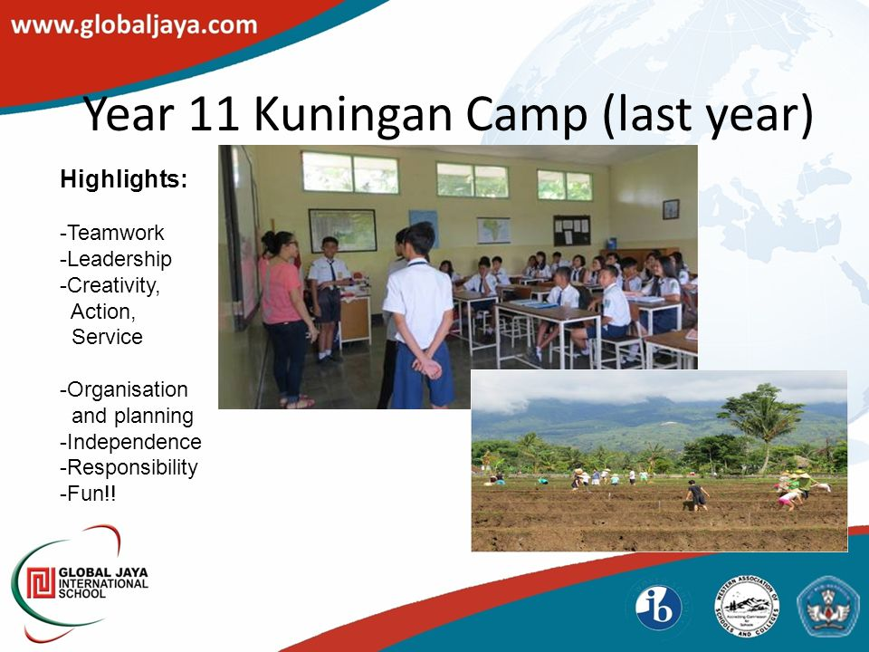 Year 11 Kuningan Camp (last year) Highlights: -Teamwork -Leadership -Creativity, Action, Service -Organisation and planning -Independence -Responsibility -Fun!!
