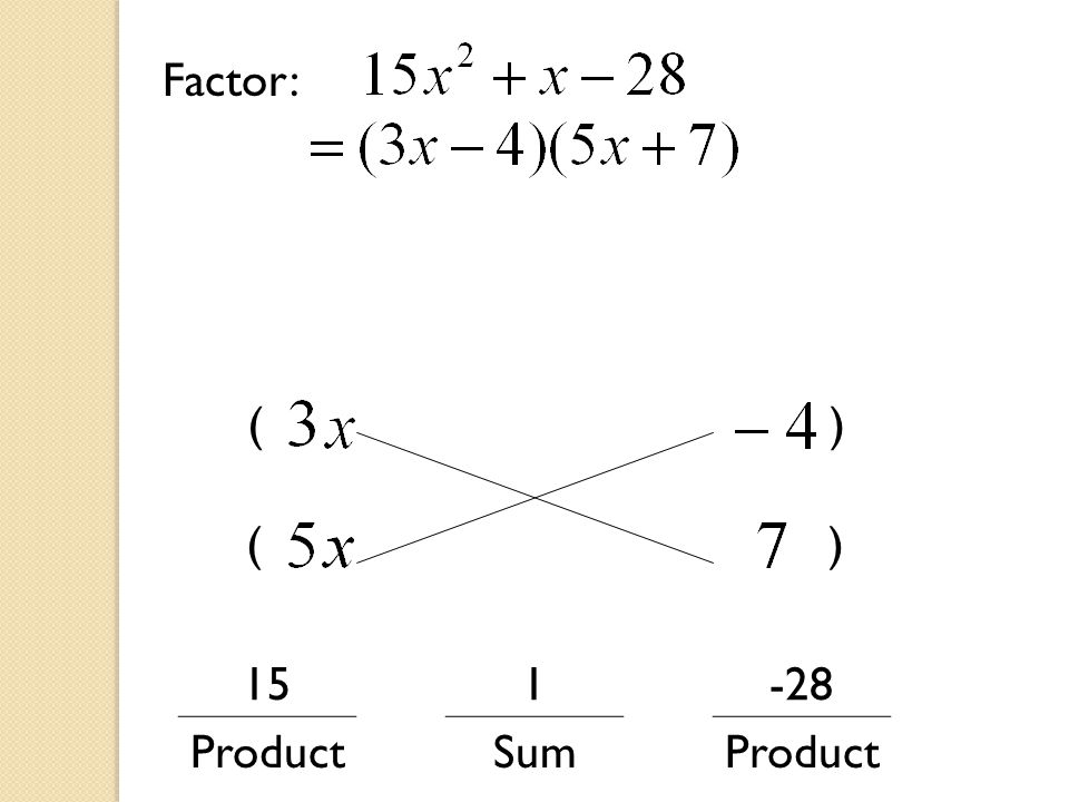 151-28 ProductSumProduct Factor:
