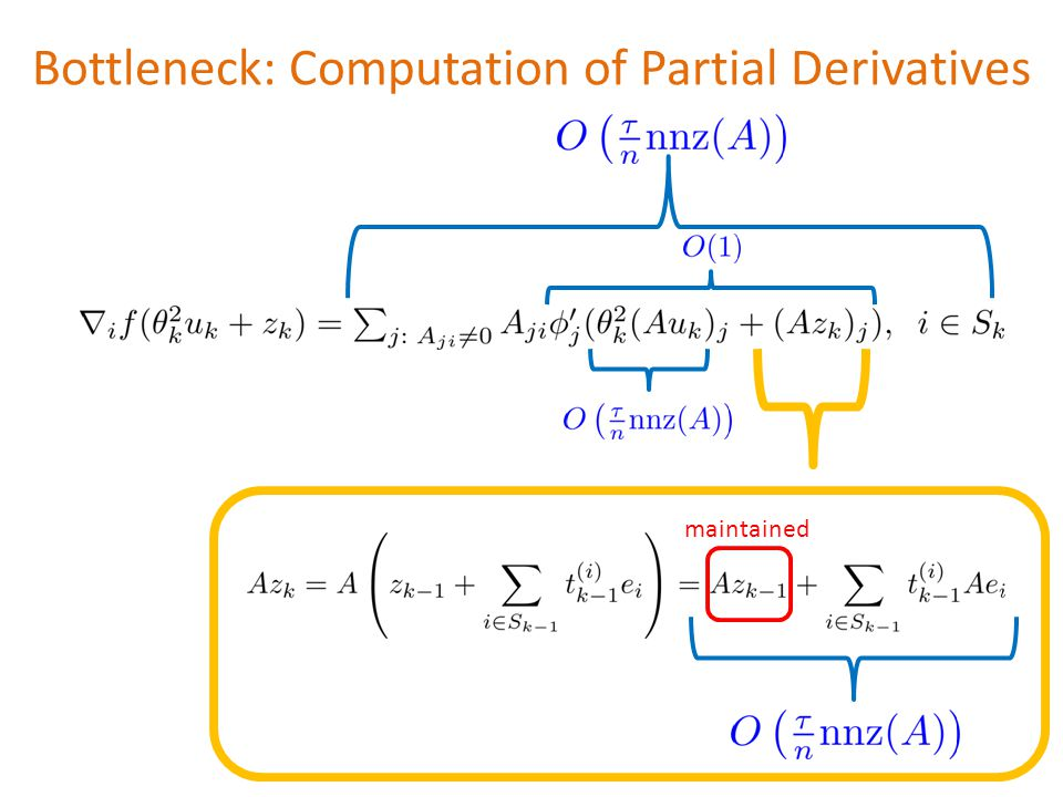 Bottleneck: Computation of Partial Derivatives maintained