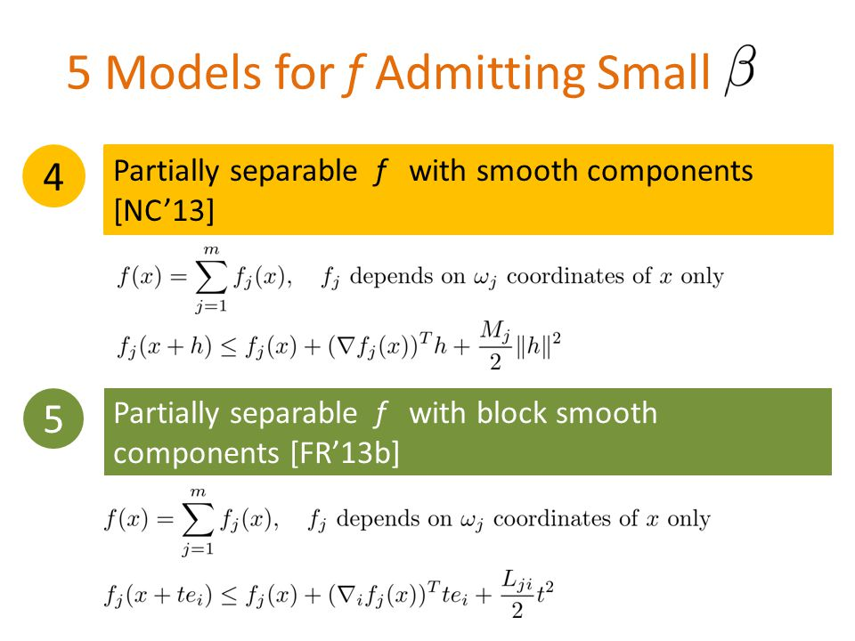 5 Partially separable f with block smooth components [FR'13b] 5 Models for f Admitting Small 4 Partially separable f with smooth components [NC'13]