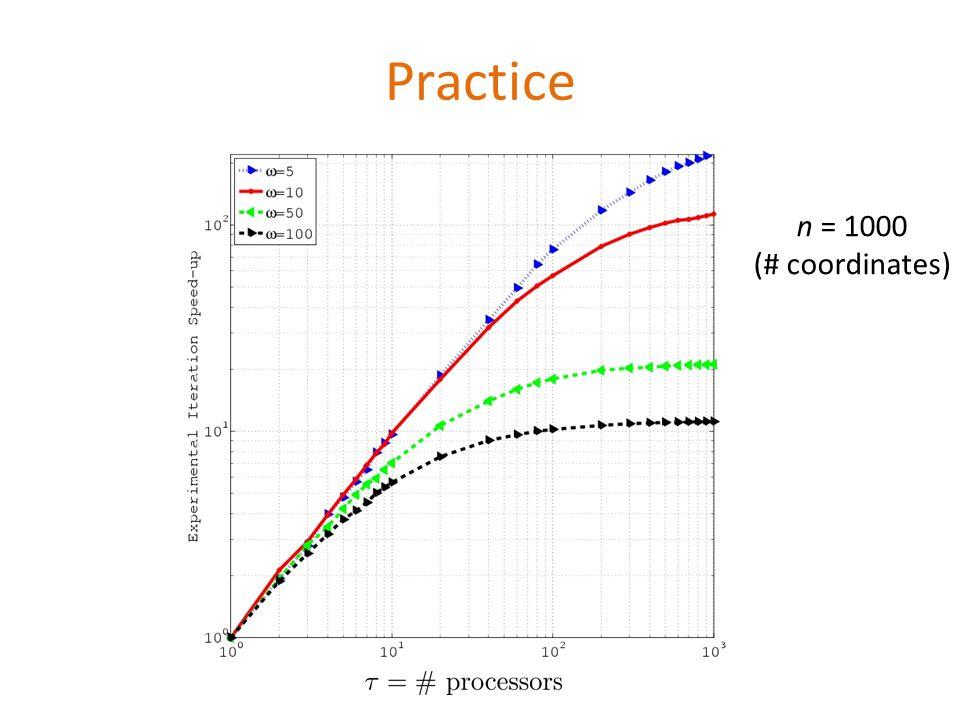 Practice n = 1000 (# coordinates)