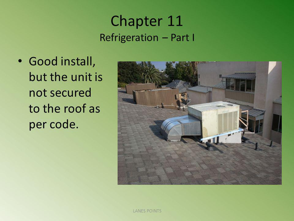 Chapter 11 Refrigeration – Part I Good install, but the unit is not secured to the roof as per code. LANES POINTS