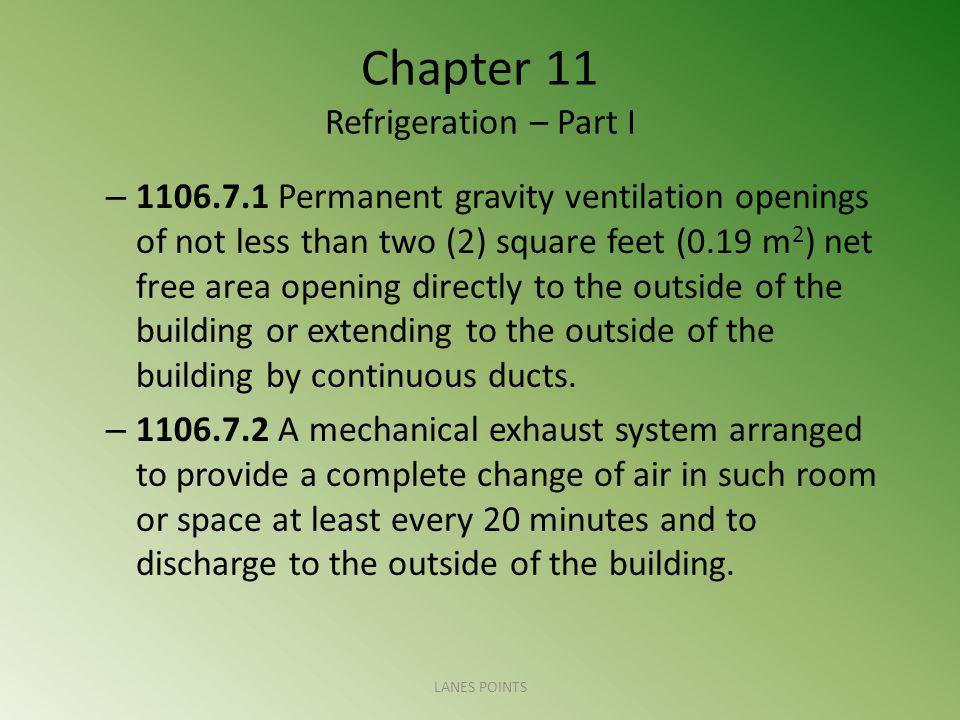 Chapter 11 Refrigeration – Part I – 1106.7.1 Permanent gravity ventilation openings of not less than two (2) square feet (0.19 m 2 ) net free area ope