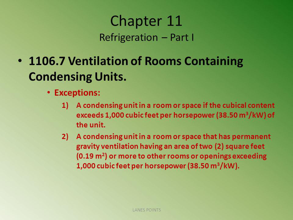 Chapter 11 Refrigeration – Part I 1106.7 Ventilation of Rooms Containing Condensing Units.