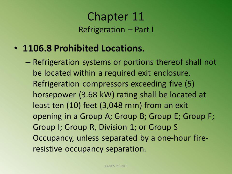 Chapter 11 Refrigeration – Part I 1106.8 Prohibited Locations.