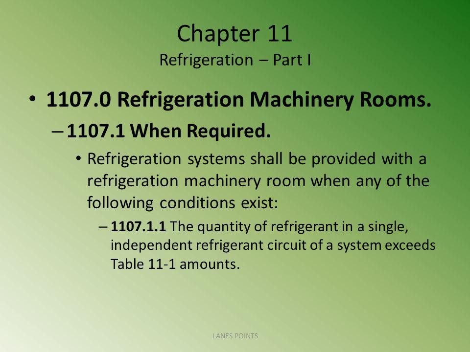 Chapter 11 Refrigeration – Part I 1107.0 Refrigeration Machinery Rooms. – 1107.1 When Required. Refrigeration systems shall be provided with a refrige