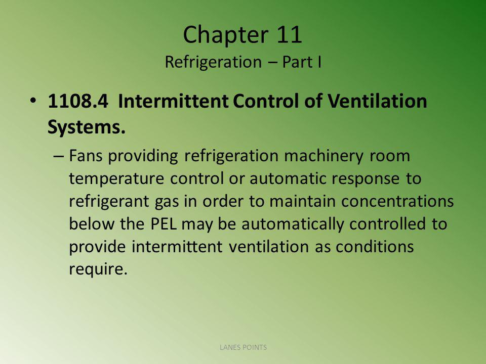 Chapter 11 Refrigeration – Part I 1108.4 Intermittent Control of Ventilation Systems.
