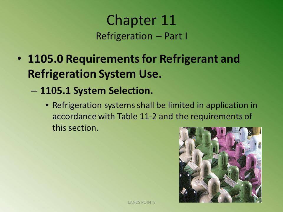 Chapter 11 Refrigeration – Part I 1105.0 Requirements for Refrigerant and Refrigeration System Use.