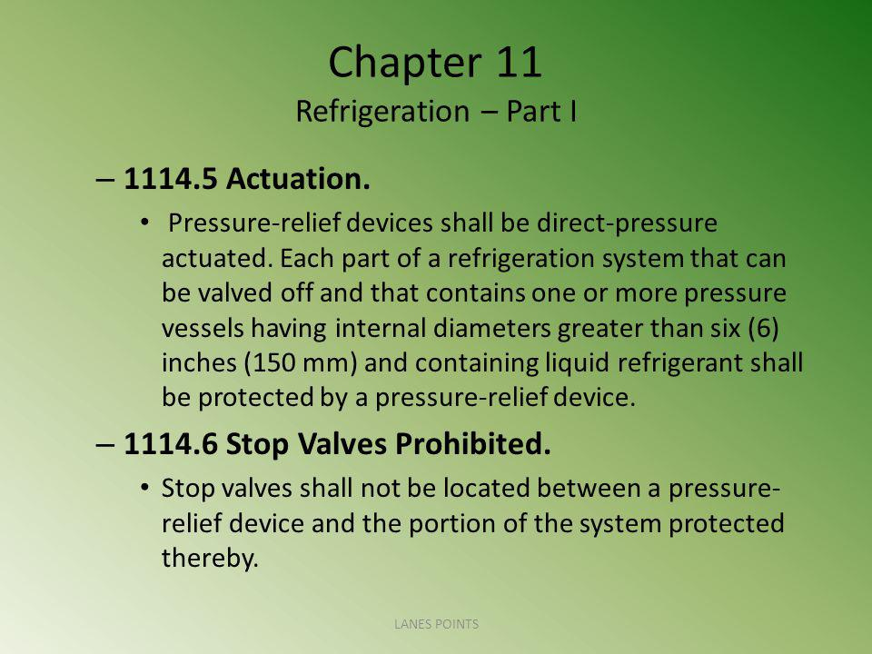 Chapter 11 Refrigeration – Part I – 1114.5 Actuation.