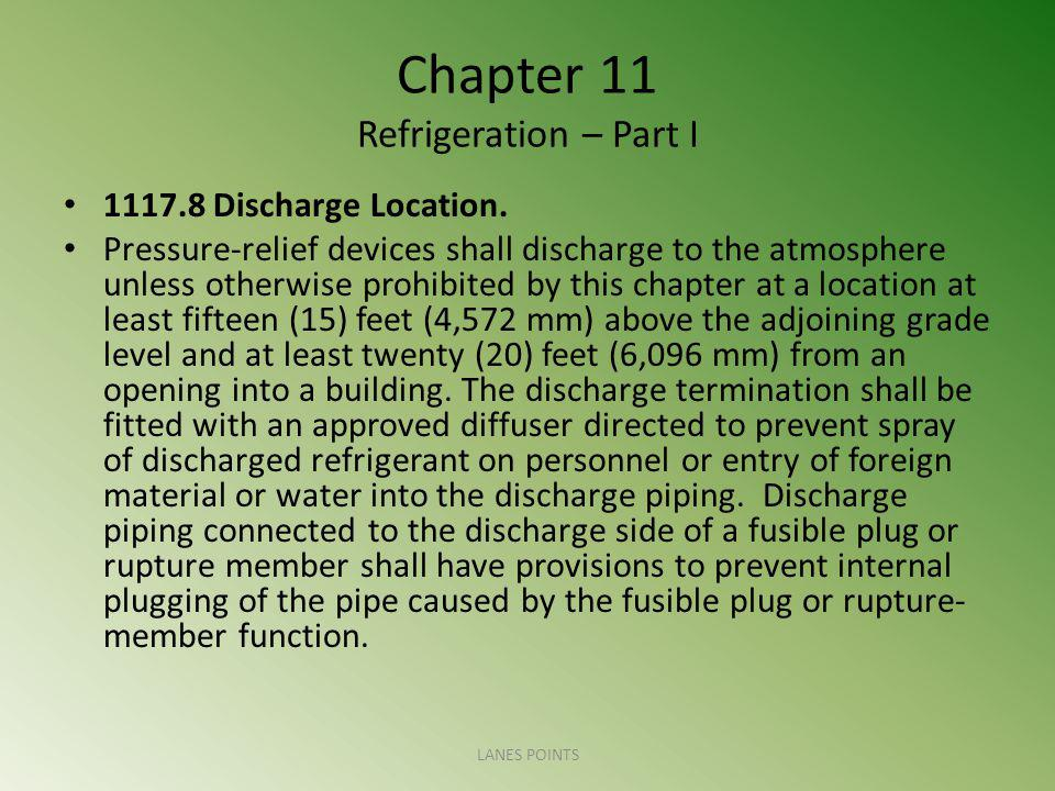 Chapter 11 Refrigeration – Part I 1117.8 Discharge Location. Pressure-relief devices shall discharge to the atmosphere unless otherwise prohibited by