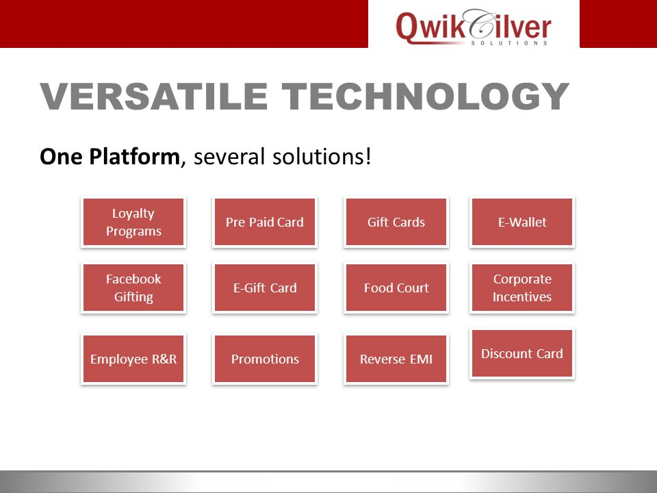 THE QWIKCILVER TECHNOVATION Cloud based Software-As-A-Service (SaaS) Entire solution managed centrally by QwikCilver Solution built on QwikCilver Platform – our IP Seamless integration at the physical & online POS Platform Flexibility - key to meet varying market needs Highly Secure