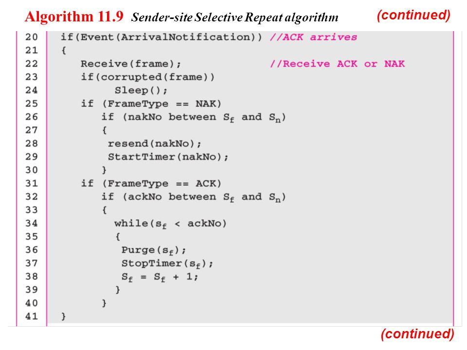 Algorithm 11.9 Sender-site Selective Repeat algorithm (continued)