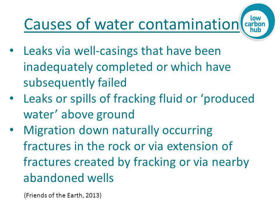 Leaks via well-casings that have been inadequately completed or which have subsequently failed Leaks or spills of fracking fluid or 'produced water' a