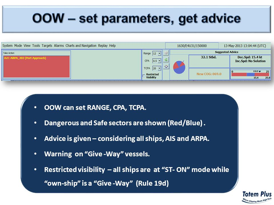 OOW can set RANGE, CPA, TCPA. Dangerous and Safe sectors are shown (Red/Blue).