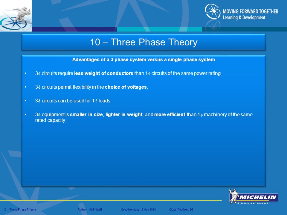 Presentation : IMS – Tech Managers ConferenceAuthor : IMS StaffCreation date : 08 March 2012Classification : D3Conservation :Page : ‹#› 10 – Three Phase TheoryAuthor : IMS StafffCreation date : 5 Nov 2012Classification : D3 Three Phase Calculation Example 10 – Three Phase Theory