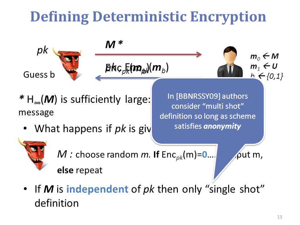 Defining Deterministic Encryption If M is independent of pk then only single shot definition 13 M *M * pk, Enc pk (m b ) m 0  M m 1  U b  {0,1} Guess b * H ∞ (M) is sufficiently large: hard to guess any single message M : choose random m.