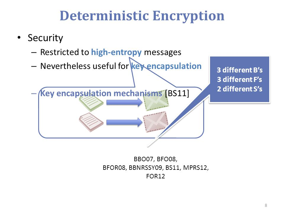 Deterministic Encryption Security – Restricted to high-entropy messages – Nevertheless useful for key encapsulation – Key encapsulation mechanisms [BS11] 8 3 different B's 3 different F's 2 different S's 3 different B's 3 different F's 2 different S's BBO07, BFO08, BFOR08, BBNRSSY09, BS11, MPRS12, FOR12