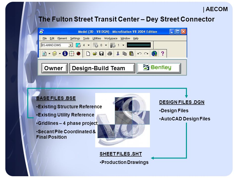 OwnerDesign-Build Team The Fulton Street Transit Center – Dey Street Connector BASE FILES.BSE Existing Structure Reference Existing Utility Reference Gridlines – 4 phase project Secant Pile Coordinated & Final Position DESIGN FILES.DGN Design Files AutoCAD Design Files SHEET FILES.SHT Production Drawings | AECOM