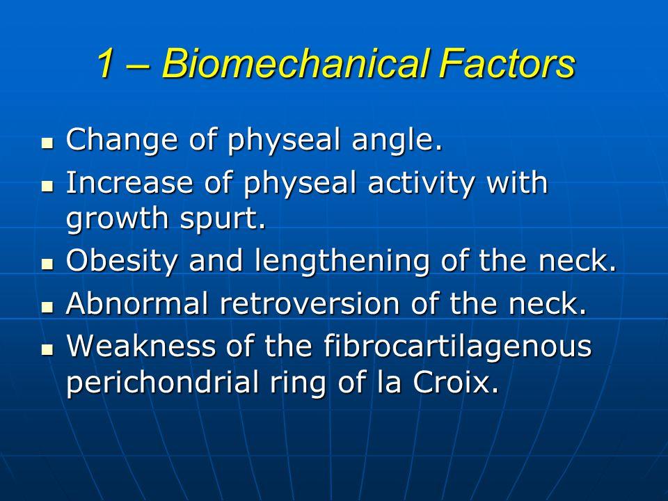 1 – Biomechanical Factors Change of physeal angle.