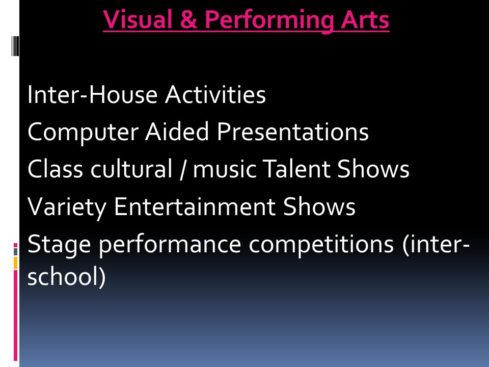 Visual & Performing Arts Inter-House Activities Computer Aided Presentations Class cultural / music Talent Shows Variety Entertainment Shows Stage per