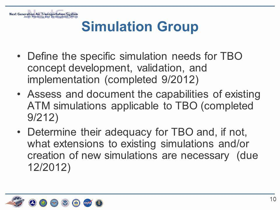 10 Simulation Group Define the specific simulation needs for TBO concept development, validation, and implementation (completed 9/2012) Assess and doc
