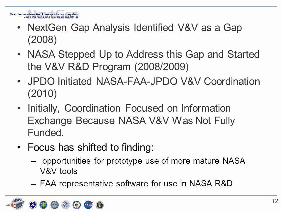 12 NextGen Gap Analysis Identified V&V as a Gap (2008) NASA Stepped Up to Address this Gap and Started the V&V R&D Program (2008/2009) JPDO Initiated