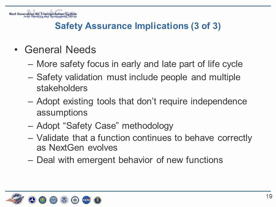 19 Safety Assurance Implications (3 of 3) General Needs –More safety focus in early and late part of life cycle –Safety validation must include people