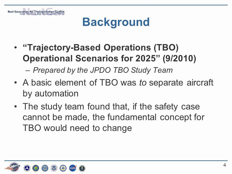 4 Background Trajectory-Based Operations (TBO) Operational Scenarios for 2025 (9/2010) –Prepared by the JPDO TBO Study Team A basic element of TBO was to separate aircraft by automation The study team found that, if the safety case cannot be made, the fundamental concept for TBO would need to change
