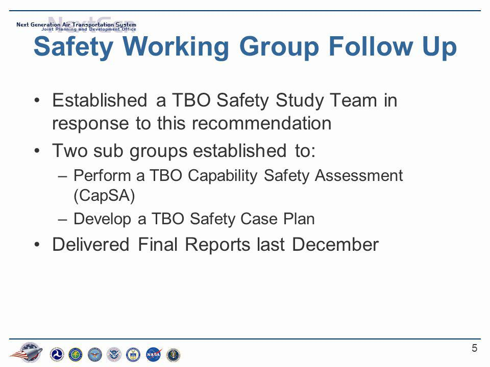 5 Safety Working Group Follow Up Established a TBO Safety Study Team in response to this recommendation Two sub groups established to: –Perform a TBO