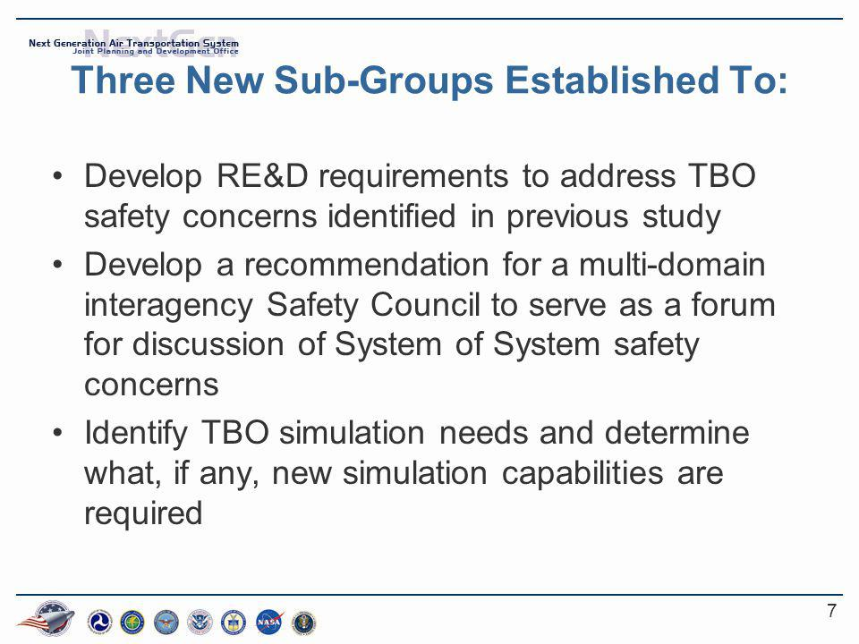 7 Three New Sub-Groups Established To: Develop RE&D requirements to address TBO safety concerns identified in previous study Develop a recommendation