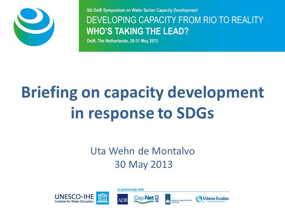 Briefing on capacity development in response to SDGs Uta Wehn de Montalvo 30 May 2013