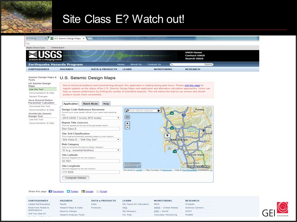 Site Class E? Watch out!
