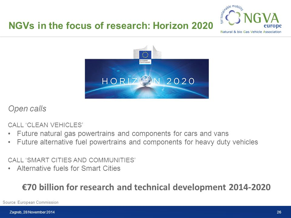 NGVs in the focus of research: Horizon 2020 Zagreb, 28 November 2014 €70 billion for research and technical development 2014-2020 Open calls CALL 'CLEAN VEHICLES' Future natural gas powertrains and components for cars and vans Future alternative fuel powertrains and components for heavy duty vehicles CALL 'SMART CITIES AND COMMUNITIES' Alternative fuels for Smart Cities Source: European Commission 26