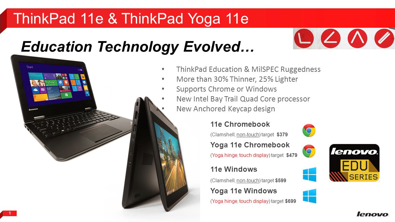 2 ThinkPad Education & MilSPEC Ruggedness More than 30% Thinner, 25% Lighter Supports Chrome or Windows New Intel Bay Trail Quad Core processor New Anchored Keycap design 11e Series Evolving Education Technology