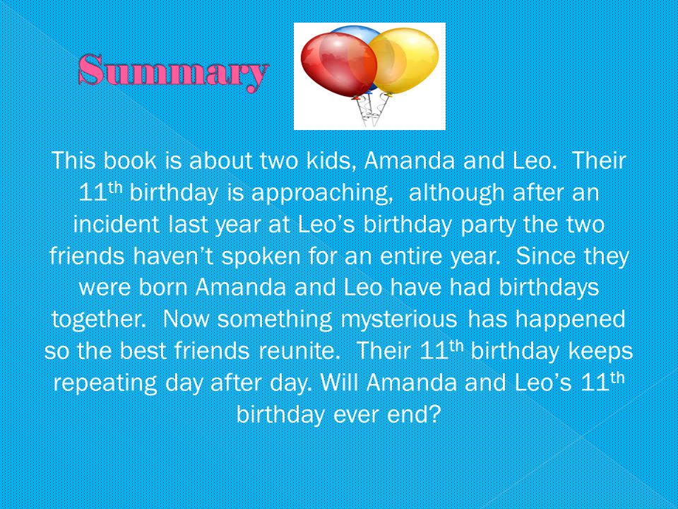 This book is about two kids, Amanda and Leo.