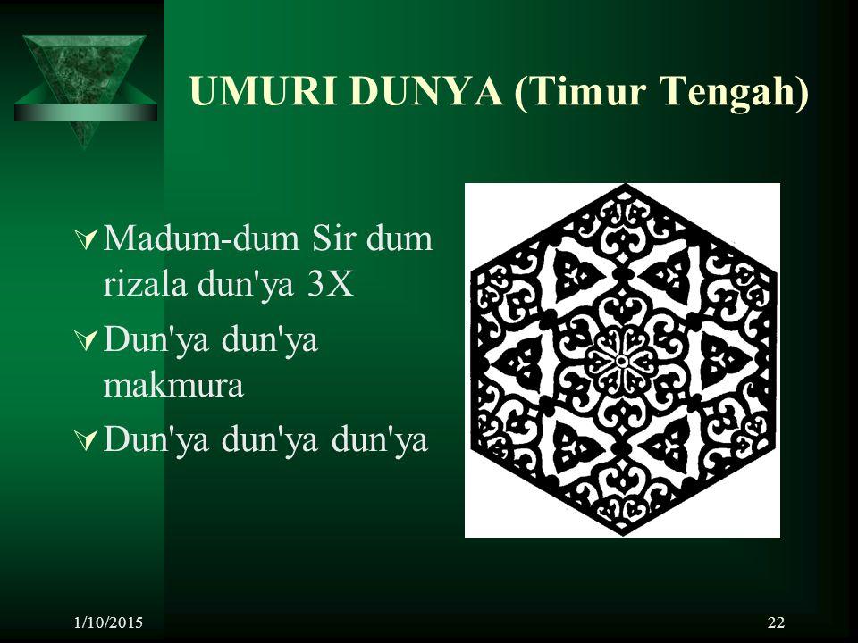 1/10/201522 UMURI DUNYA (Timur Tengah)  Madum-dum Sir dum rizala dun'ya 3X  Dun'ya dun'ya makmura  Dun'ya dun'ya dun'ya