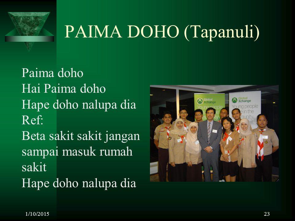 1/10/201523 PAIMA DOHO (Tapanuli) Paima doho Hai Paima doho Hape doho nalupa dia Ref: Beta sakit sakit jangan sampai masuk rumah sakit Hape doho nalup