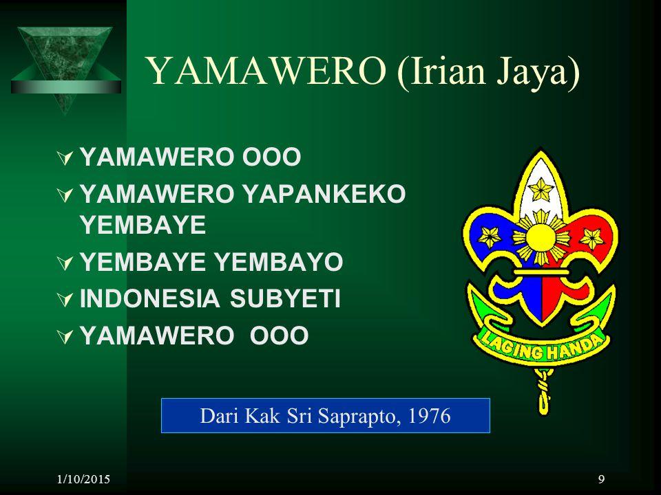 1/10/20159 YAMAWERO (Irian Jaya)  YAMAWERO OOO  YAMAWERO YAPANKEKO YEMBAYE  YEMBAYE YEMBAYO  INDONESIA SUBYETI  YAMAWERO OOO Dari Kak Sri Saprapt
