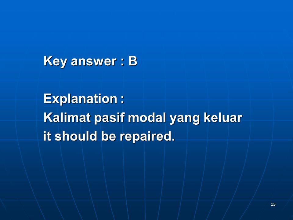 15 Key answer: B Explanation: Kalimat pasif modal yang keluar it should be repaired.